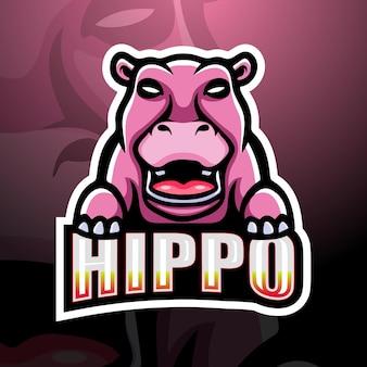 Design do logotipo do mascote hipopótamo