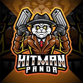 Design do logotipo do mascote hitman panda esport