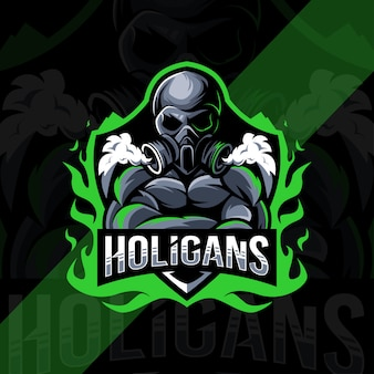 Design do logotipo do mascote holigan