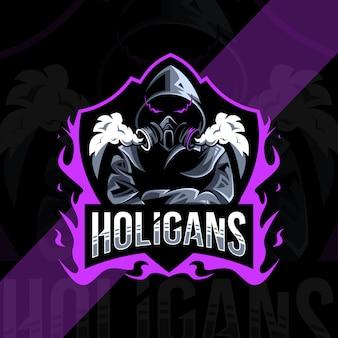 Design do logotipo do mascote holigan