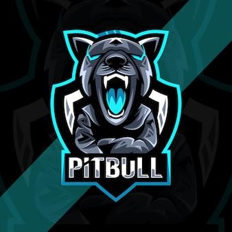 Design do logotipo do mascote irritado pitbull