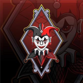Design do logotipo do mascote jester esport