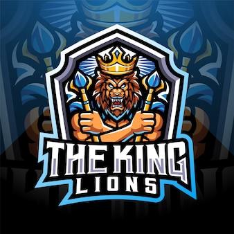 Design do logotipo do mascote king lions esport