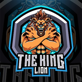 Design do logotipo do mascote king lions esport