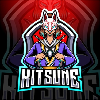 Design do logotipo do mascote kitsune girl esport