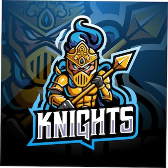Design do logotipo do mascote knight esport