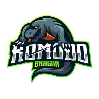 Design do logotipo do mascote komodo dragon esport