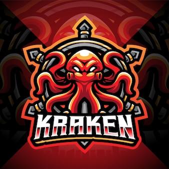 Design do logotipo do mascote kraken polvo esport