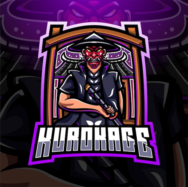 Design do logotipo do mascote kurokage esport