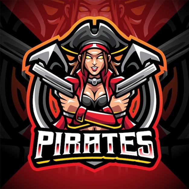 Design do logotipo do mascote lady pirates esport