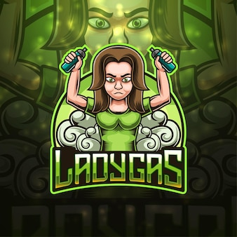 Design do logotipo do mascote ladygas esport