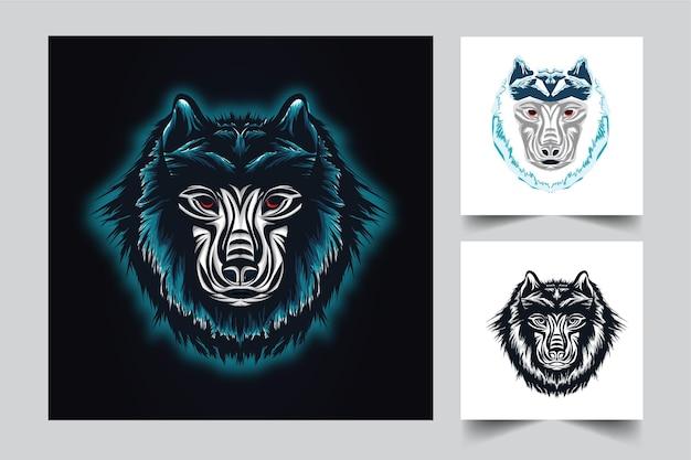Design do logotipo do mascote lobo com estilo de ilustração moderna para mover