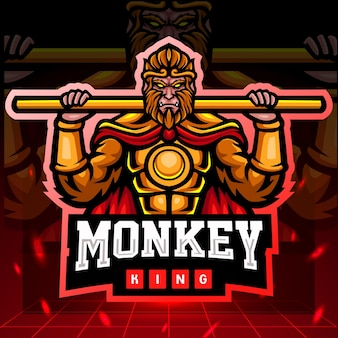 Design do logotipo do mascote macaco rei