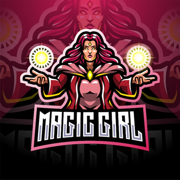 Design do logotipo do mascote magic girls esport