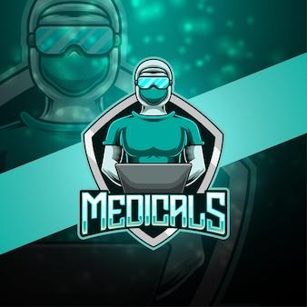 Design do logotipo do mascote medicals esport