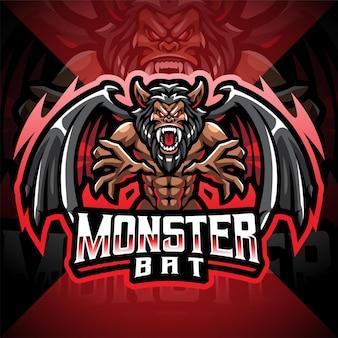 Design do logotipo do mascote monster morcego