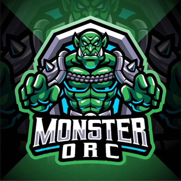 Design do logotipo do mascote monster orc esport