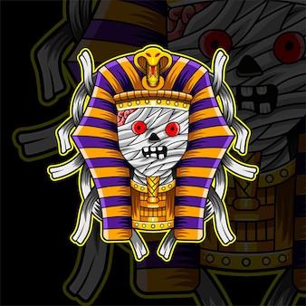 Design do logotipo do mascote mummy esport