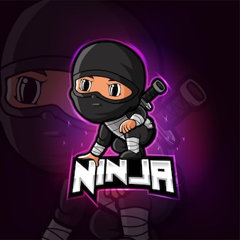 Design do logotipo do mascote ninja esport