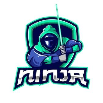 Design do logotipo do mascote ninja esport