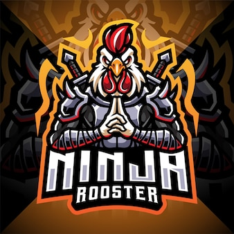 Design do logotipo do mascote ninja galo esport