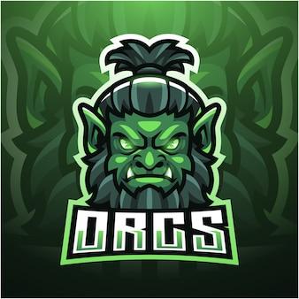 Design do logotipo do mascote orc esport