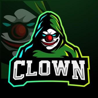 Design do logotipo do mascote palhaço esport
