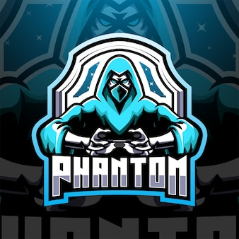 Design do logotipo do mascote phantom esport