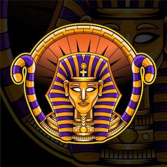 Design do logotipo do mascote pharaoh esport