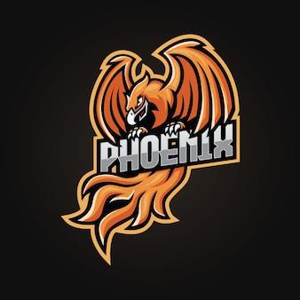 Design do logotipo do mascote phoenix e esport
