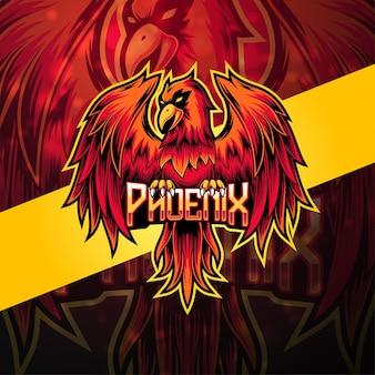 Design do logotipo do mascote phoenix esport