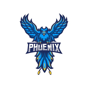 Design do logotipo do mascote phoenix isolado no branco