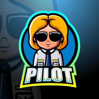 Design do logotipo do mascote piloto esport
