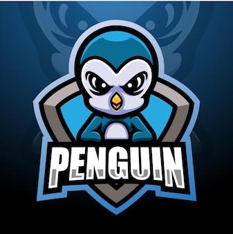Design do logotipo do mascote pinguim esport