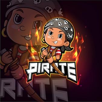 Design do logotipo do mascote pirata esport
