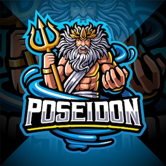 Design do logotipo do mascote poseidon esport com arma tridente