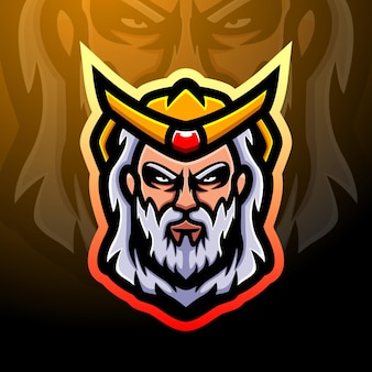 Design do logotipo do mascote poseidon esport Vetor Premium