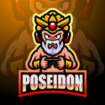Design do logotipo do mascote poseidon esport