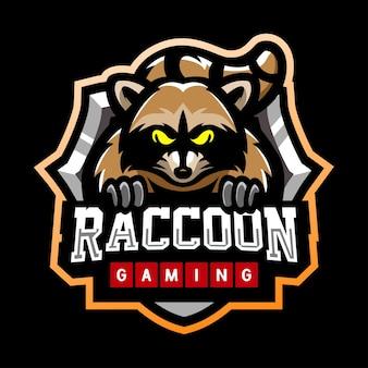 Design do logotipo do mascote raccoon