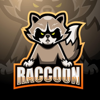 Design do logotipo do mascote raccoon