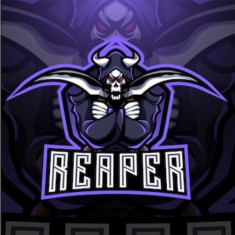 Design do logotipo do mascote reaper esport