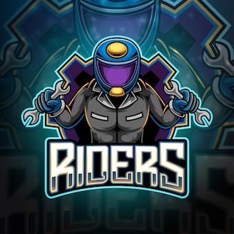 Design do logotipo do mascote riders esport