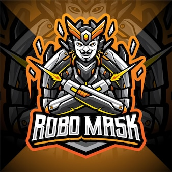 Design do logotipo do mascote robo mask esport