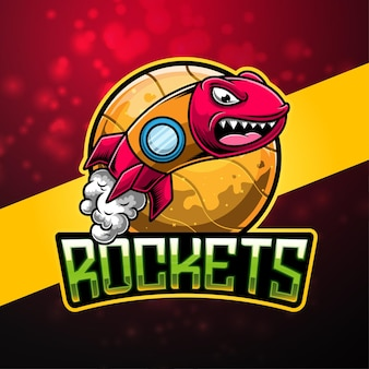 Design do logotipo do mascote rockets esport