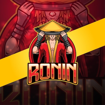 Design do logotipo do mascote ronin esport