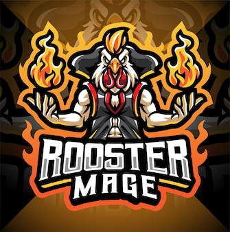 Design do logotipo do mascote rooster mage esport