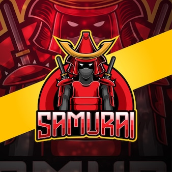 Design do logotipo do mascote samurai esport