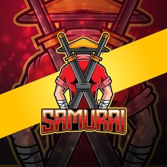 Design do logotipo do mascote samurai esport