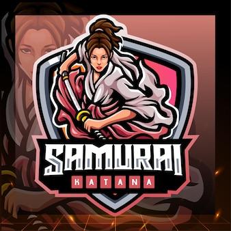 Design do logotipo do mascote samurai girls Vetor Premium