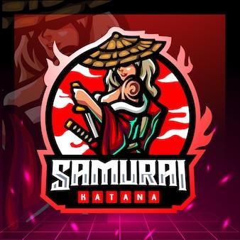 Design do logotipo do mascote samurai girls